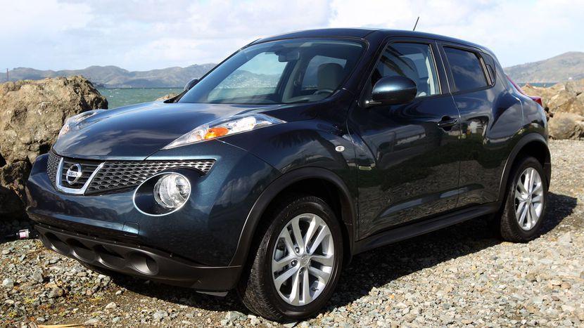 gambar menunjukkan sebuah mobil Nissan Juke berwarna abu abu hitam sedang diparkir di pinggir jalan