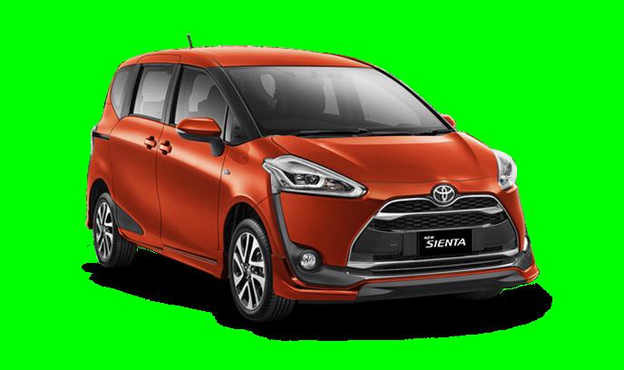 Gambar bagian depan mobil Toyota Sienta berwarna orange