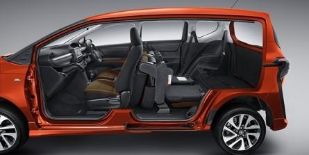 Gambar keseluruhan ruang kabin mobil Toyota Sienta sdilihat dari sisi samping