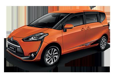 gambar mobil Toyota Sienta berwarna orange dilihat dari sisi samping