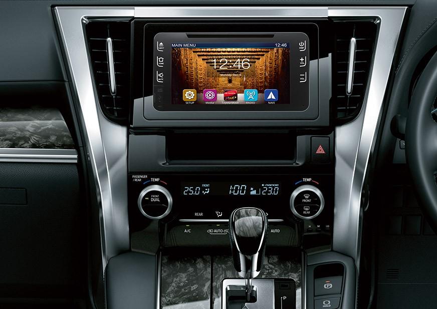 Fitur interior Toyota New Vellfire 2018 terlihat unggul seperti panel audio Touchscreen berukuran 8 inci