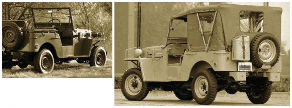 Gambar yang menunjukan bagian belakang dan samping dari generasi pertama Toyota Jeep BJ