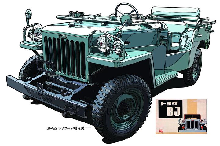 Gambar yang menunjukan ilustrasi generasi pertama Toyota Jeep BJ berwarna biru