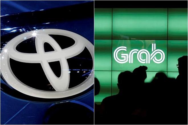 Gambar logo Grab dan Toyota