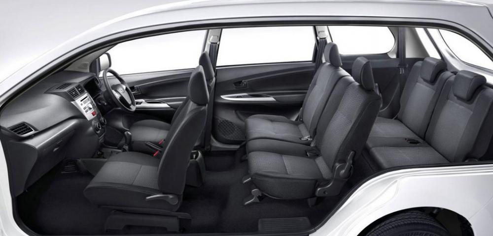 Gambar ini menunjukkan interior Mobil Toyota dengan kapasitas 7 penumpang