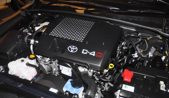 Gambar ini menunjukkan mesin Toyota hilux D-Cab dan terdapat logo Toyota serta tulisan D-4D