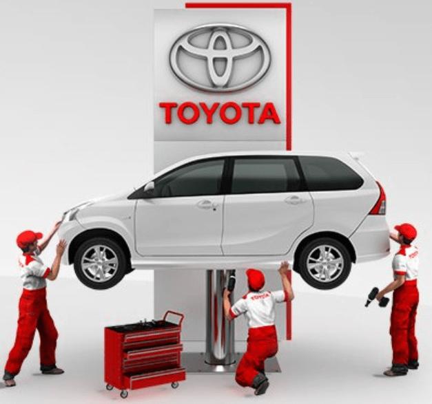 Gambar ini menunjukkan ilustrasi 3 mekanik sedang memeriksa kondisi Mobil dan di atasnya ada logo Toyota
