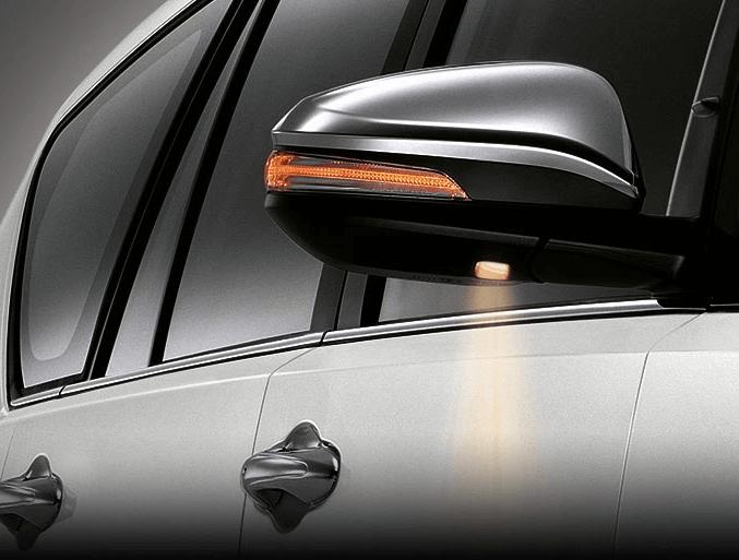 Gambar ini menunjukkan lampu pada bagian bawah kaca spion bagian kanan pada kendaraan