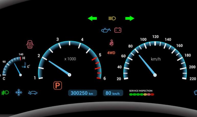 Gambar ini menunjukkan lampu indikator pada dashboard dan terdapat beberapa lampu yang menyala