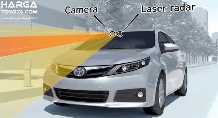 Gambar ini menunjukkan ilustrasi gelombang yang dipancarkan oleh camera dan laser radar pada fitur Pre-Collision System