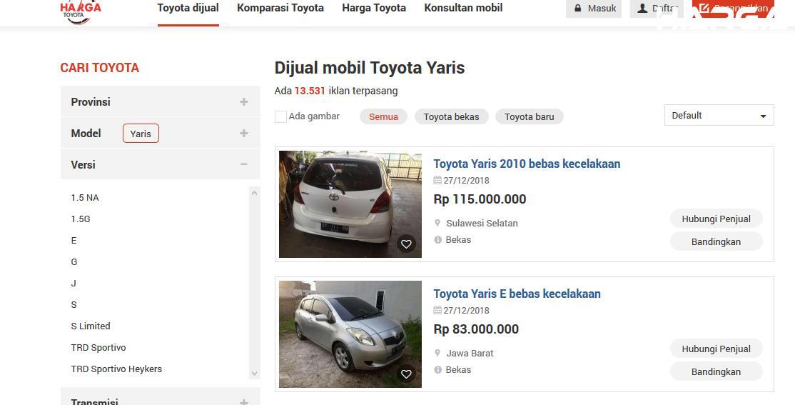Gambar ini menunjukkan website hargatoyota.com yang memberikan informasi mobil bekas dijual
