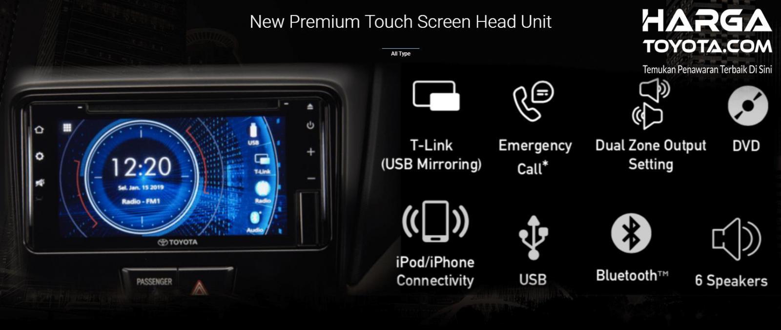 Toyota 1.5 G 2019 menghadirkan panel Head Unit lebih canggih dari varian lainnya