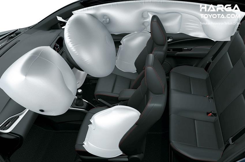 Gambar ini menunjukkan airbags yang terdapat pada bagian depan kursi pengemudi dan bagian sampingnya