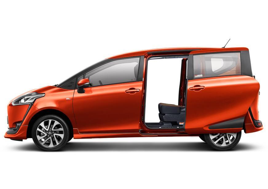 Tampak Pintu geser elektrik Toyota Sienta sangat memudahkan Anda