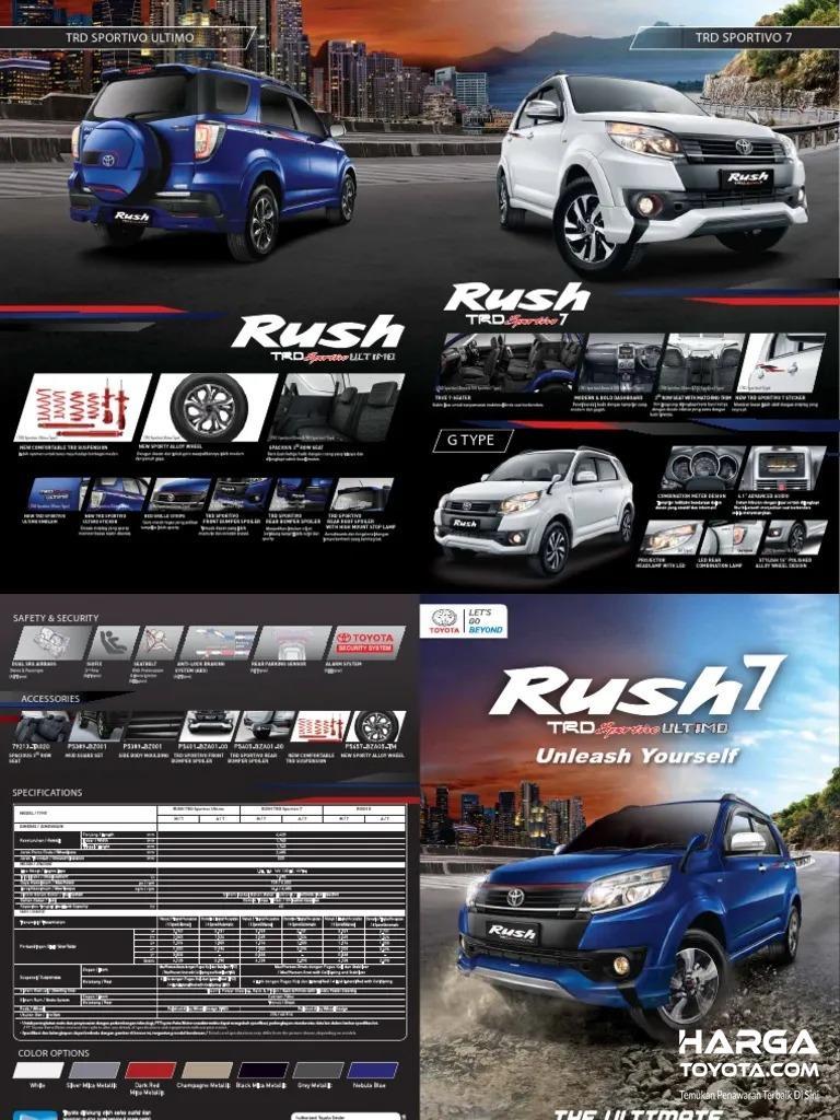 Gambar menunjukkan Brosur Toyota Rush G, Ultimo dan 7