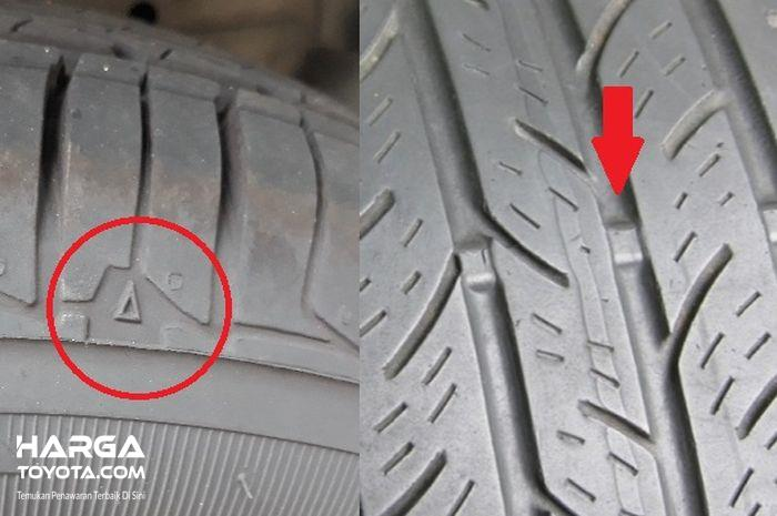 Foto indikator keausan pada ban mobil