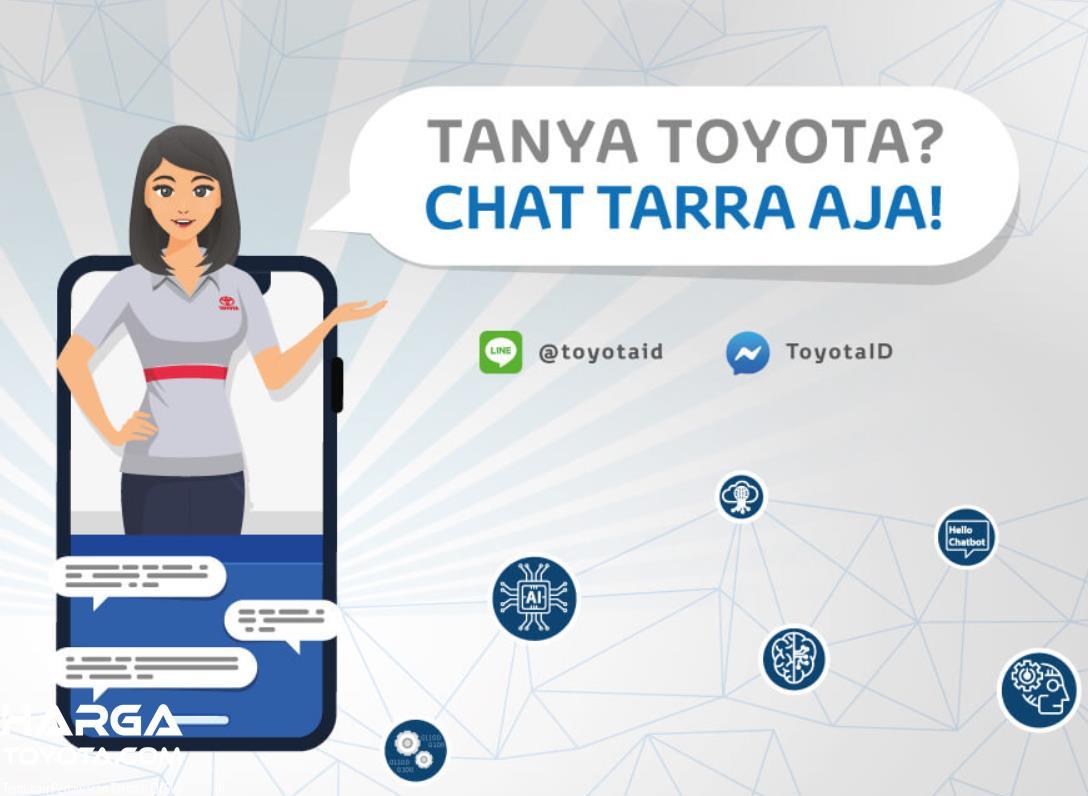 Gambar ini menunjukkan brosur Toyota untuk tanya Toyota di Chat Tarra