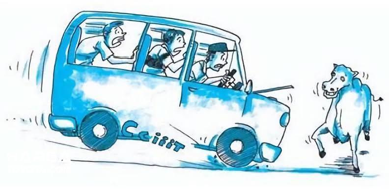 Gambar ilustrasi pengemudi melakukan pengereman tajam