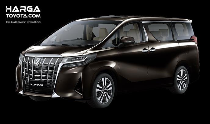 Gambar ini menunjukkan mobil Toyota Alphard hitam tampak samping dan depan