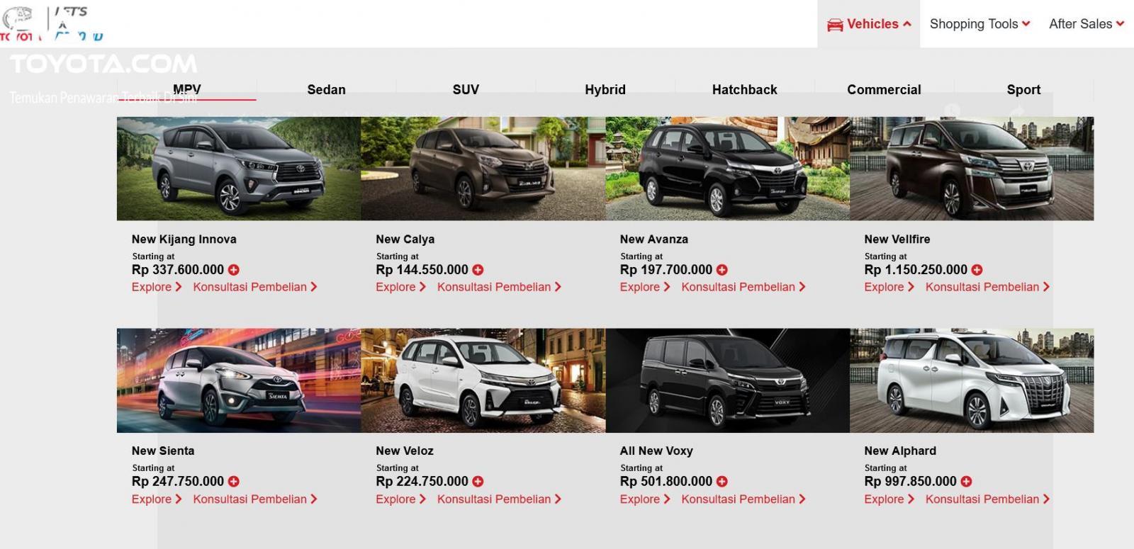 Gambar ini menunjukkan beberapa model mobil dengan harga di laman resmi Toyota