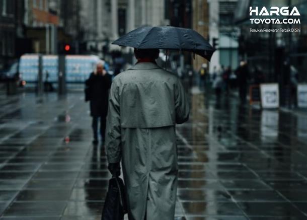 Gambar ini menunjukkan seseorang membawa payung sedang berdiri