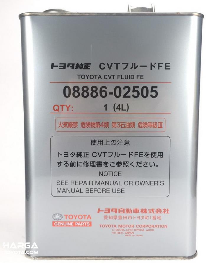 Gambar ini menunjukkan oli Toyota Genuine CVT Fluid FE untuk mobil Toyota