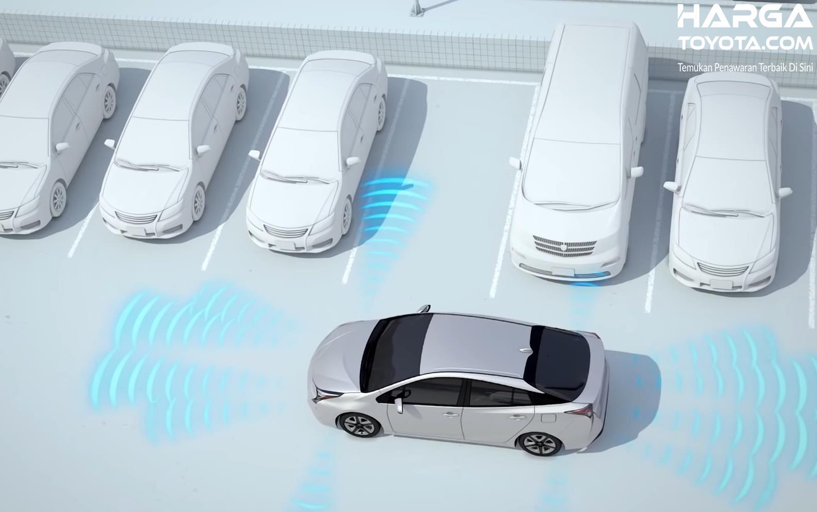 Gambar ini menunjukkan ilustrasi mobil sedang mencari tempat parkir dengan mengandalkan fitur Intelligent Park Assist Toyota
