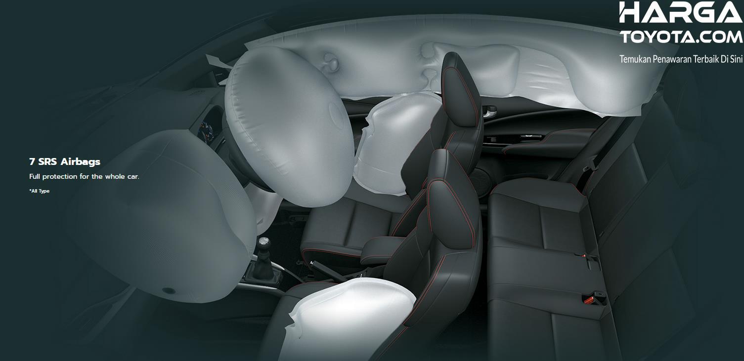Gambar ini menunjukkan 7 buah airbag pada mobil Toyota Vios