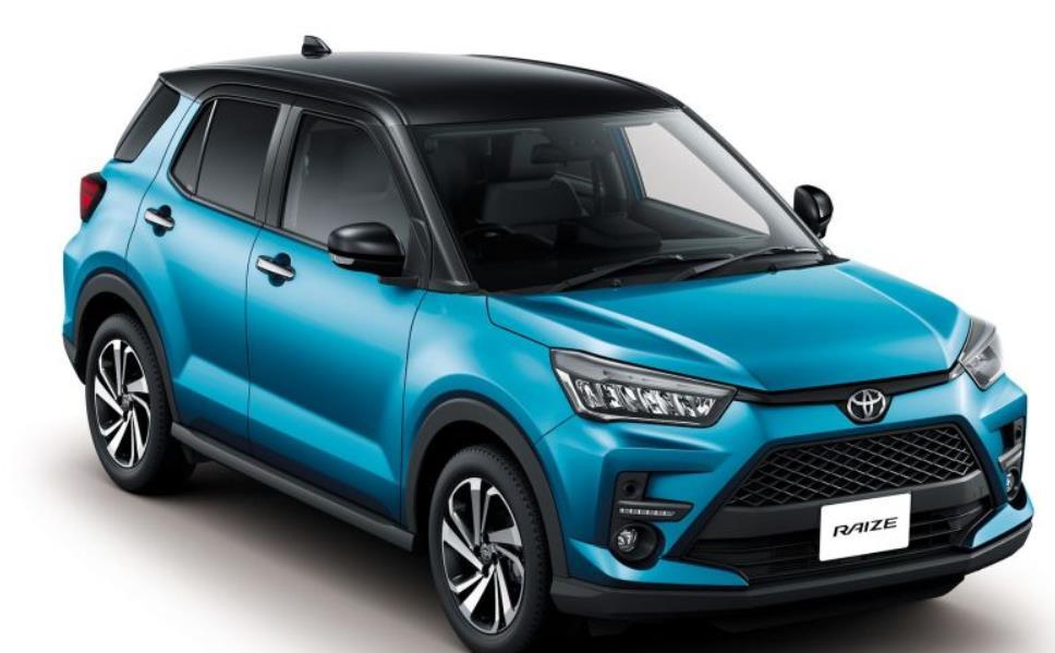 Gambar ini menunjukkan mobil baru Toyota Raize warna biru