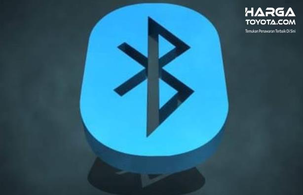 Gambar ini menunjukkan logo Bluetooth warna biru dan hitam