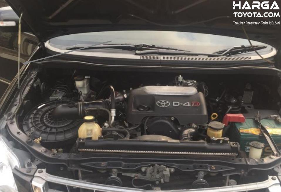 Gambar ini menunjukkan mesin mobil Toyota Kijang Innova dengan penopang kap